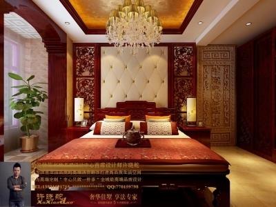 龙发装饰首席设计师许晓舵-名门华都200平米宫廷中式风格主卧室