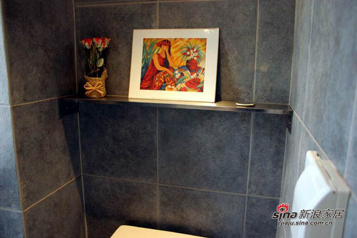 卫生间的不锈钢小板,是MM设计的,简单而酷。上面最右面的小东西是插香的,很是别致