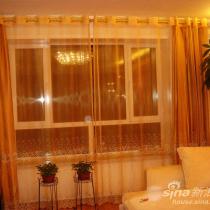 客厅的窗帘..金色的沙和缎子