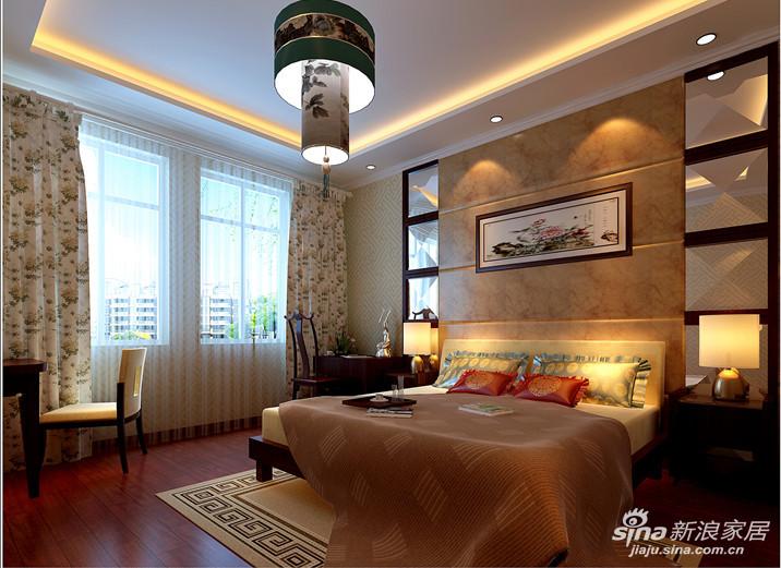 卧室 两联中式格栅,一幅国画,一青花瓷花瓶把空间的中式韵味做的如此到位.