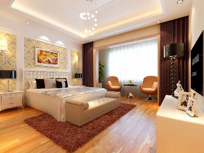 """二楼卧室 17平米简约舒适卧室  """"设计理念:柔软的浅棕与智者般内敛的深棕色,完美结合,更彰显自然与舒适。亮点:明朗的午后,隔离外界的喧嚣,一本书一杯茶,点缀些许绿植,有一种置身世外挑源的意境。"""""""