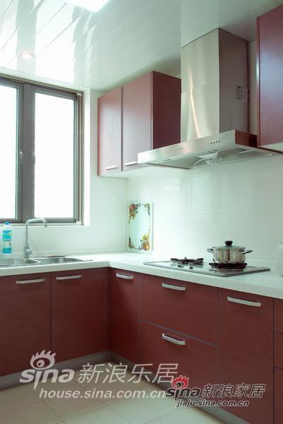 厨房,红色和白色为主调