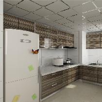 厨房木门平板造型,橱柜色彩横纹,感觉很立体,显得空间也大了很多,奶白色的砖很干净,台面是石英石的,为了与整体风格搭配,选择了干净的冷白色。