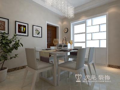 建海绿荫半岛现代装修三室两厅案例效果图——餐厅全景效果图