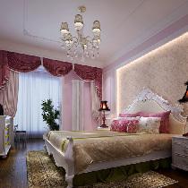 设计理念:女孩子的房间,总是充满了梦幻的感觉,设计师采用了粉色系列的手  法,靠枕,和窗帘,墙面的处理。都是用粉色来做主题,从而更突出女孩子梦幻  的空间,家具运用了白色系,和墙面形成有层次的对比,白色系的石膏装饰显出  空间的干净,利落。 亮点:床头背景造型,粉嫩的床饰软装,淡粉色墙漆。