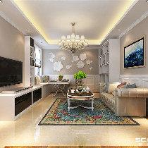 【上海实创装饰】浦东达城家园77平二居简欧风格婚房装修