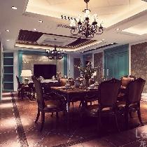 成都龙发装饰公司,凤凰城装修图片,美式风格,餐厅