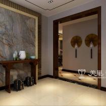 华润悦府装修三室两厅效果图-中式的隐形端景