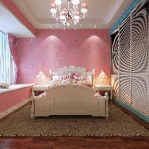 设计理念:粉色作为女孩子最喜欢之一的颜色,把粉色融入地中海风情里,天真可爱,有思想。 亮点:树状的装饰墙,搭配弧形天花,蓝的衣柜,把粉色融入地中海风情里。
