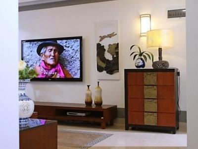 客厅设有投影仪,投影幕布就隐藏于电视墙上方的墙壁里,不仔细看根本看不出来,投影仪也同样隐藏在与电视墙相对的墙壁上方。