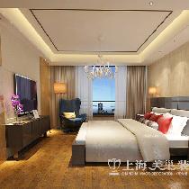正商城117平夸张含蓄后现代装修三室两厅效果图——卧室全景