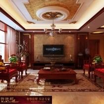 龙发装饰首席设计师许晓舵-名门华都200平米宫廷中式风格电视墙