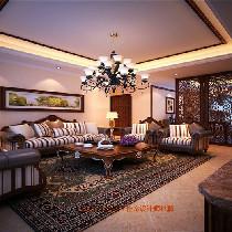 客厅沙发墙 简洁明快 设计理念:在古典中带有一点随意,摒弃了过多的繁琐与奢华,兼具古典主义的优美造型与新古典主义的功能配备,既简洁明快,又温暖舒适。