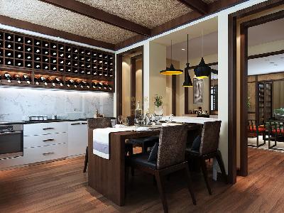 家具颜色与风格的协调性,灯光的选择主要以暖色为主。