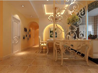 厨房和餐厅的结合。客户的厨房是开放厨房,并且和餐厅,门厅在连在一起。 所以厨房设计成了开放式厨房,采用弧形垭口并且与过道,餐厅背景墙相呼应并用文化石包垭口,体现了一点田园风格。