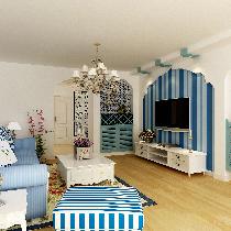 芍药居北里-90平米-地中海风格的装修案例-客厅效果图