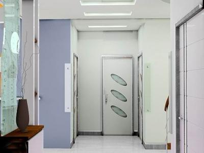 门廊左边是客厅,右面是餐厅、厨房。前方是主卫,主卫左右各市一个卧室。结构很简单。
