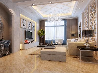 客厅明亮的客厅设计理念:整个客厅空间以简约的线条、简洁明快的角线贯穿始终,加以客厅大理石背景装饰,来修饰这一空间,合理的界定了功能空间,根据不同的区域进行了内容与诸元素的有机调配,营造并强化了各功能空间的特定气氛。