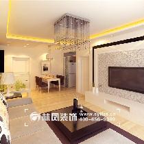本案客厅用的是抛釉的瓷砖,灰色的布艺沙发,沙发背景是乳胶漆调色,淡淡的绿色,可以整体突显出沙发的气质。背景墙运用的是石膏板和壁纸的相互搭配。