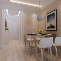 餐厅是家居生活的心脏,不仅要美观,更重要的实用性,整体性。餐厅区米白色的壁纸,餐厅灯光很重要不能太强又不能太弱,所以我的中灯光则以温馨和暖的黄色为基调。