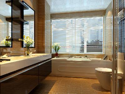 在卫生间的设计上面采用了一致性的仿古砖把卫生间装饰得简洁而又实用,搁板式收纳柜及卫生洁具三件套的组合,在用材和颜色搭配上是最普遍、实用、简洁的装饰方法,一般都能给人精巧的感觉;大理石盆面配置搁板式结构,然后再配上洁具的单件组合,也能使卫生间显得清爽明快。