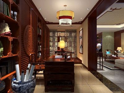 成都装修设计 川豪装饰 龙城一号案例 中式风格书房设计