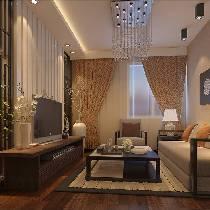 时尚中式风格6.4万装修京铁和园60平米复古二居室
