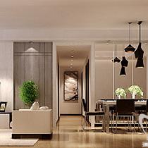 蓝天空港148平装修优雅自在 新中式书香四居室——客餐厅全景
