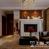 天骄华庭90平三室装修深色现代简约效果图样板间——电视背景墙