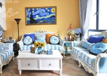 沙发背景墙,墙上是临摹的凡高名作《星空》,68元