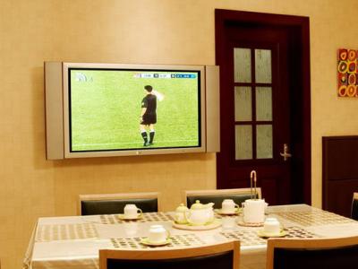 饭厅的电视也是LG42寸等离子,家里所有的门是衫子门业
