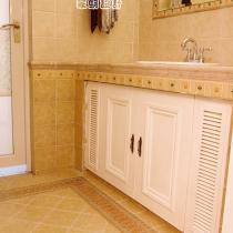 砖砌的洗手台,漂亮的磁砖