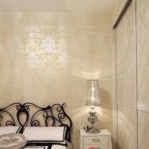 卧室的壁纸在灯光下真的很好看!