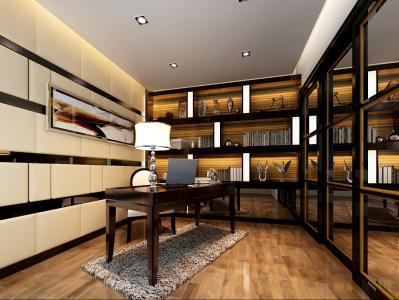 书房用黑镜和皮材质上的反差突出品位个性,映射着古典高贵年华,又融入现代的简洁明了的线条和时代感十足的黑钢混搭出不一样的风格,让人宁静!过道的设计非常时尚有创意,地面不同材质的拼花,及黑镜与浴缸的结合,恰到好处的表现的业主的生活品味,也透入出强烈的现代气息。