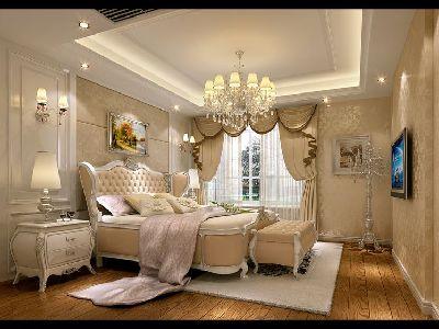 中海国际林庭叠院装修 简欧风格 主卧室装修设计图 设计咨询13881867673