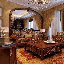 美式大宅55.5万装修轻松休闲奢华舒适400平米新新小镇别墅