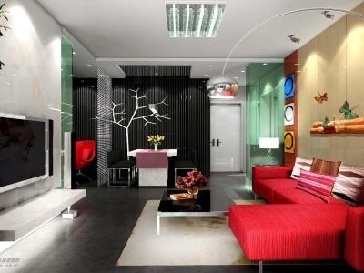 沙发背景墙采用枫木,上悬两根圆木,有几只蝴蝶翩翩起舞!
