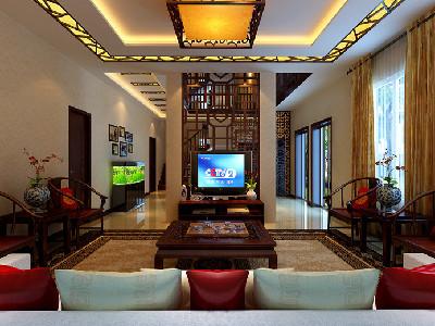 客厅 对称的布局,代表着身份的明式圈椅无处都不在显示着高贵与大气.