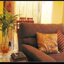 红色的线帘。沙发跳了颜色,咖啡色