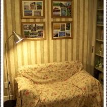 沙发床是老妈死活要买的,实在和书房的感觉不配啊,所以偶亲自己做了布置盖上
