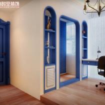 荣和大地108平米地中海风格装修案例—书房2