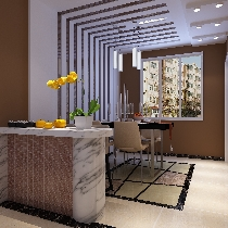 设计理念:餐厅的空间整体以咖色为主,墙面为主题色,餐厅的背景墙用石膏板  和茶镜做搭配,简单时尚。 亮点:家里常吃饭的人只有男主人和女主人,所以设计吧台,红酒配晚餐,浪漫  温馨。