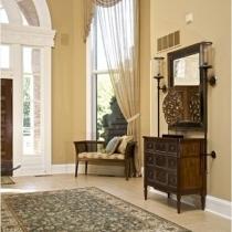 根据家装的整体风格选择玄关地毯,也是另外一个明智举措,如这款,家装整体风格为古典欧式,那么,在地毯选择上当然不能太现代,绿白色的雪尼尔提花矩形地毯,古典中透着清新