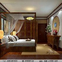 成都装修设计 川豪装饰 龙城一号案例 中式风格卧室设计