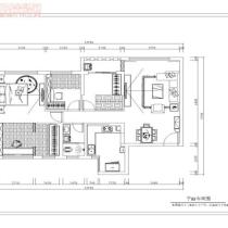 荣和大地108平米地中海风格装修案例—平面布置图
