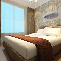 亚麻色调,放松,自然,给房间增加了很强的透气性,背景是一副树叶的艺术作品,房主自己做的,看上去很安静,卧室的感觉典雅,有内涵。