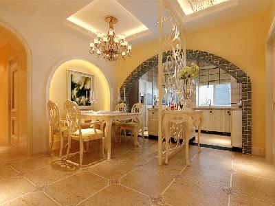 餐厅:人对食物的兴趣。由于客户的进门就是餐厅,而且过道很长,所以在这设计出了玄关和餐厅的完美结合, 餐厅的背景墙利用了暖色调,这样可以提高人的食欲,雕花隔断也鞥增加空间的通透性,整体效果比较大气。