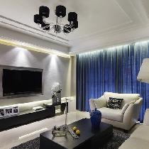 170平现代摩登大户型 蓝调空间设计时尚4居