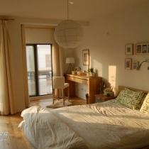清晨阳光里的卧室全景(好像是上周五早上7点多上班出门前急急忙忙拍的)皱皱巴巴的床单……