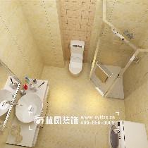 本案卫生间以暖色为主,淋浴区用的是玉屏,使房主在使用的时候,不必担心有水淋出来。坐便的后面瓷砖用了一些花片,让冰冷的瓷砖显示不在那么单调。